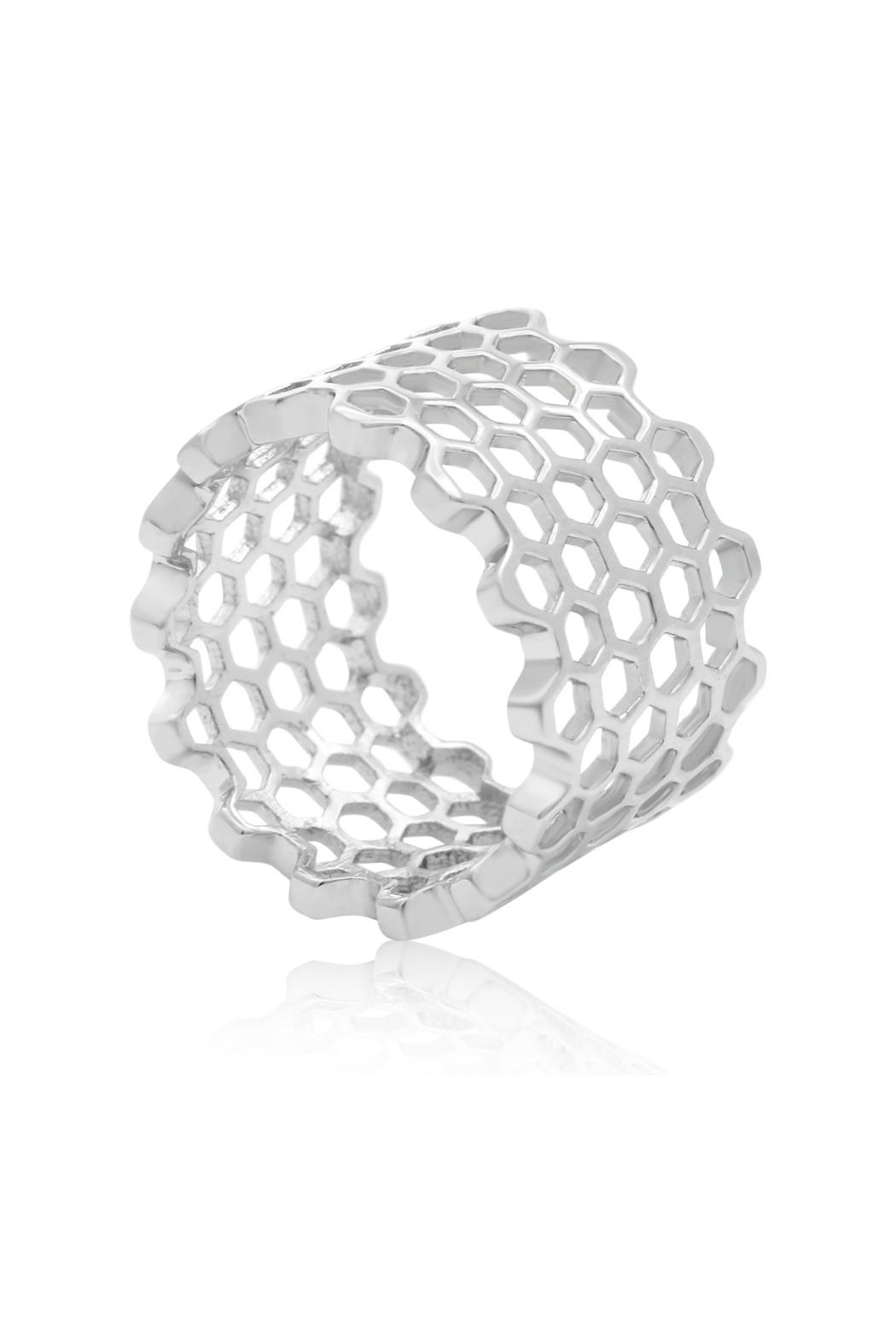 6th Borough Boutique Sterling Honeycomb Ring - Front Full Image