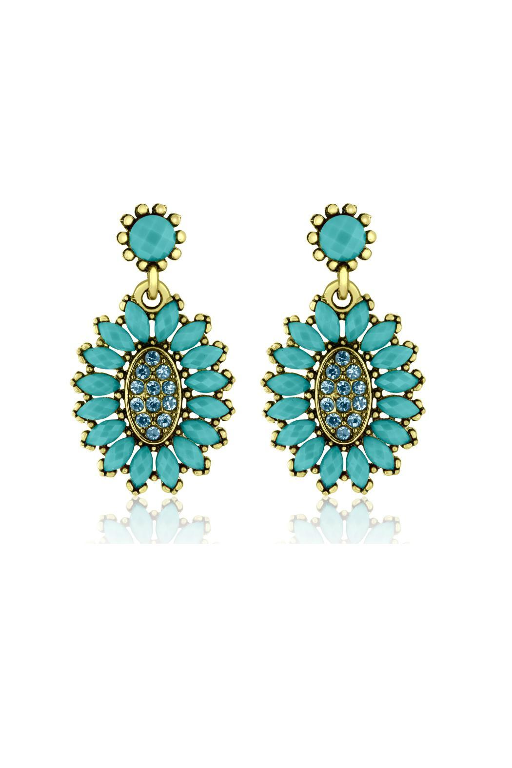 6th Borough Boutique Turquoise Crystal Earrings - Front Cropped Image