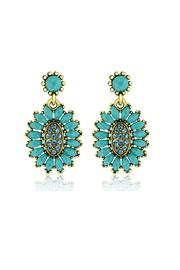 6th Borough Boutique Turquoise Crystal Earrings - Product Mini Image