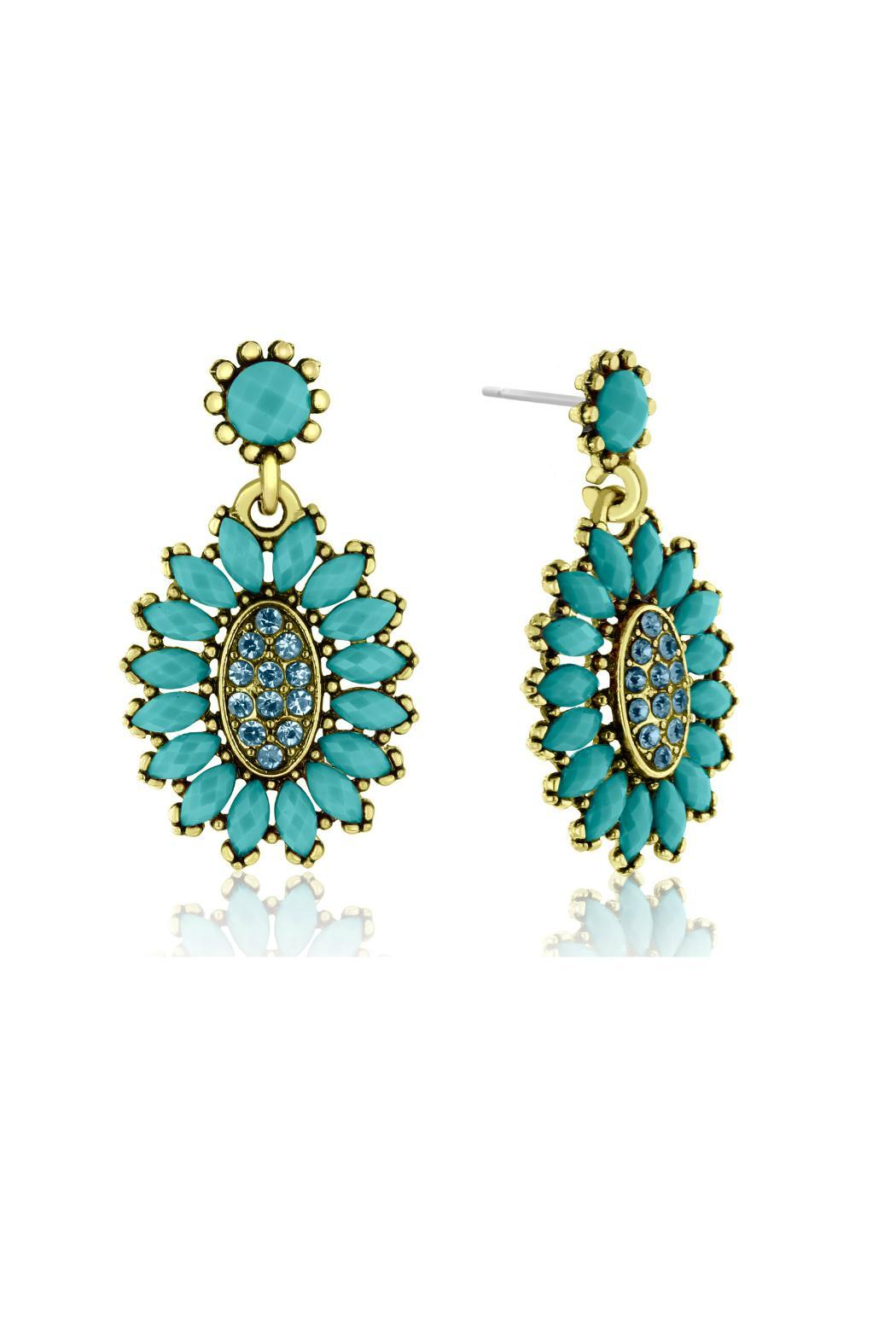 6th Borough Boutique Turquoise Crystal Earrings - Front Full Image