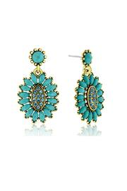 6th Borough Boutique Turquoise Crystal Earrings - Front full body
