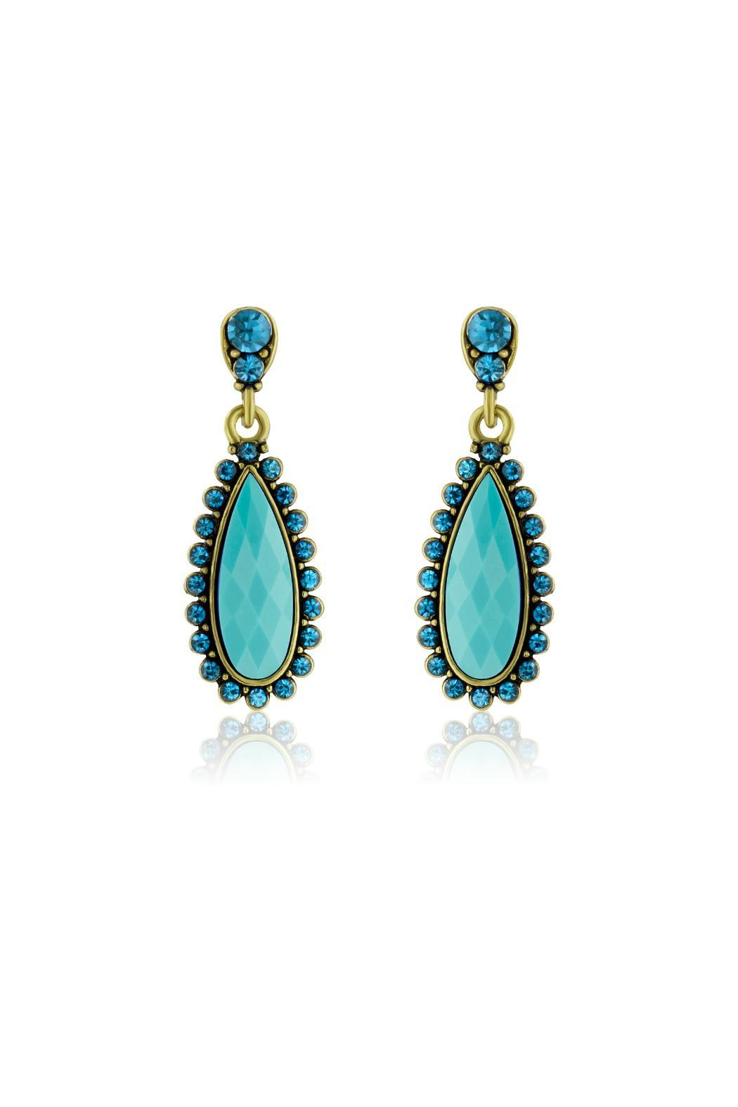 6th Borough Boutique Turquoise Pear Earrings - Main Image