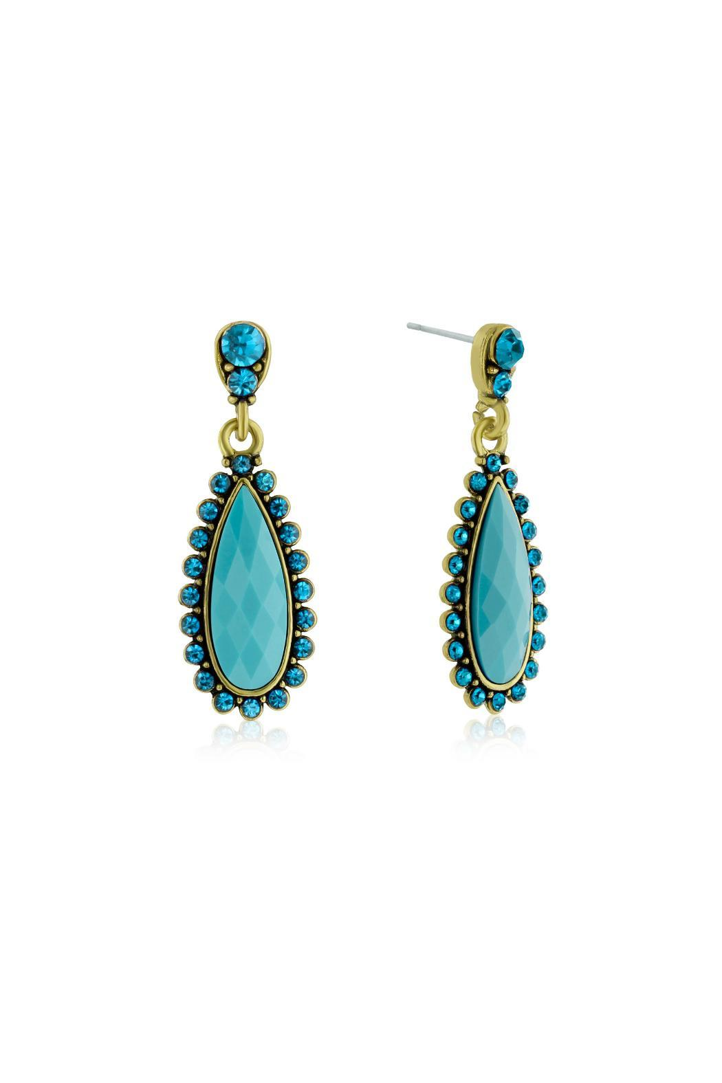 6th Borough Boutique Turquoise Pear Earrings - Front Full Image