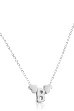 6th Borough Boutique White Gold Heart Initial Necklace - Alternate List Image