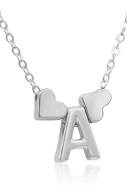 6th Borough Boutique White Gold Heart Initial Necklace - Product Mini Image