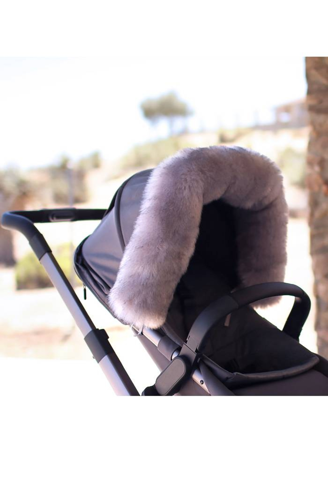 7AM Enfant 7 AM Enfant Faux Fur Marquee Tundra Canopy For Baby Carrier Or Stroller - Back Cropped Image