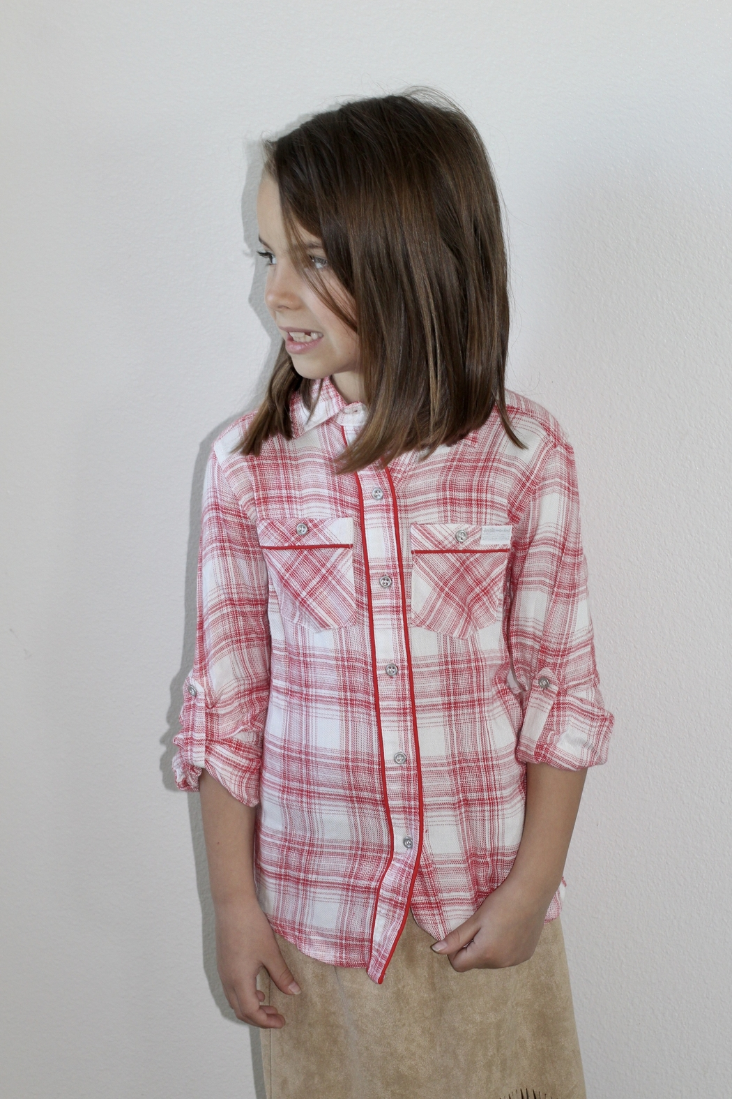 7 For all Mankind 7 For All Mankind Red Plaid Shirt - Front Full Image
