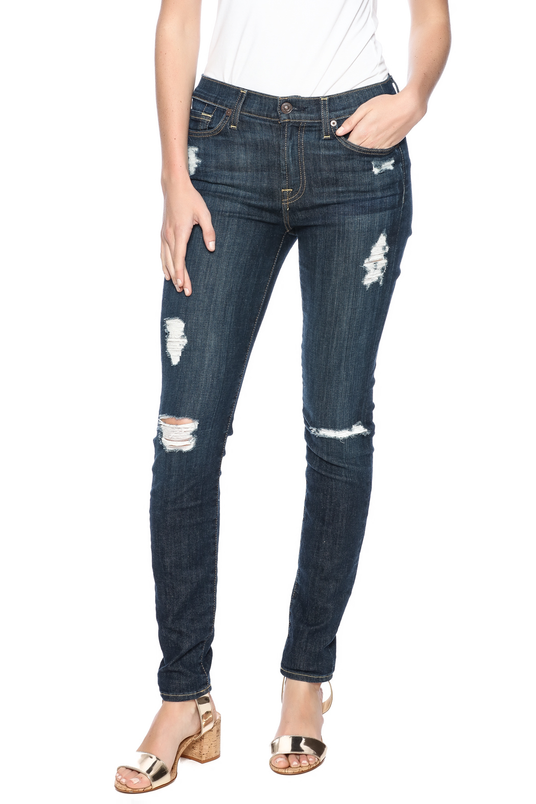 7 For all Mankind The Distressed Skinny - Main Image