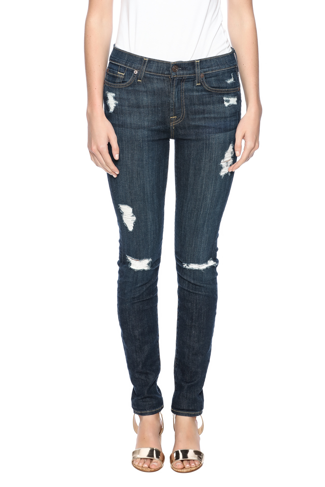 7 For all Mankind The Distressed Skinny - Side Cropped Image