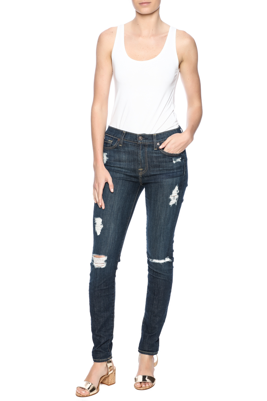 7 For all Mankind The Distressed Skinny - Front Full Image
