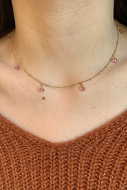 Amber  7 or 9 Stone Strawberry Quartz Necklace - Front cropped