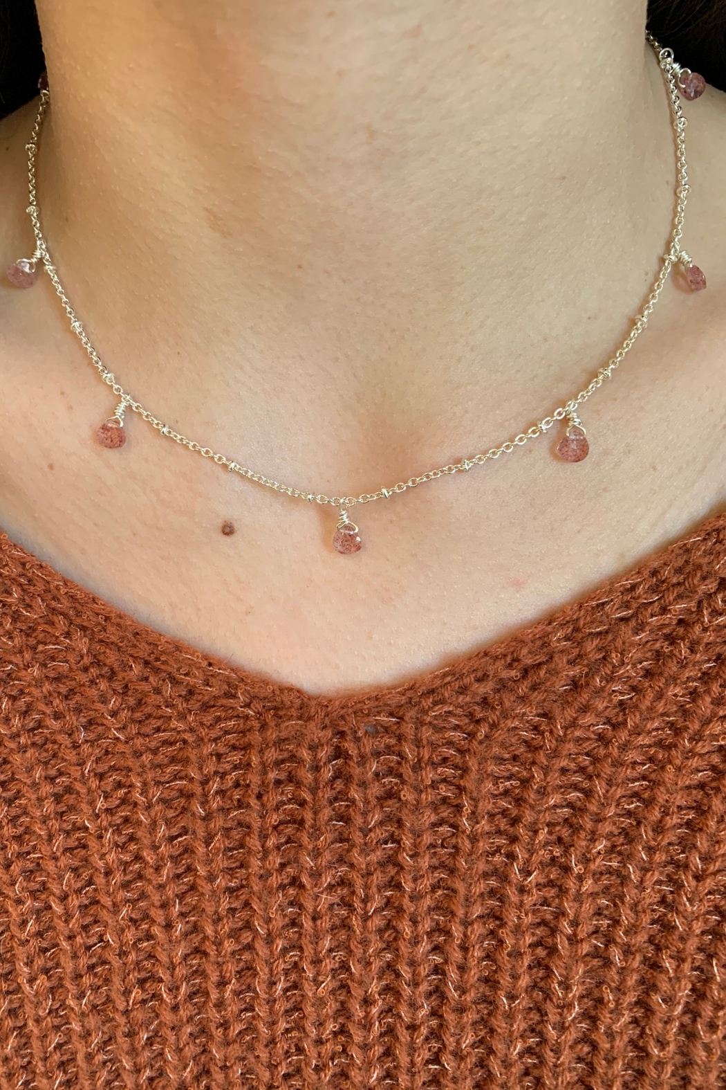 Amber  7 or 9 Stone Strawberry Quartz Necklace - Front Cropped Image