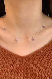 Amber  7 Stone Amethyst Necklace - Front cropped