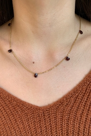 Amber 7 Stone Garnet Necklace - Front cropped