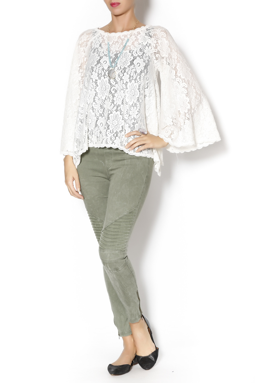 Gina Louise Lace Bell Sleeve Top - Front Full Image
