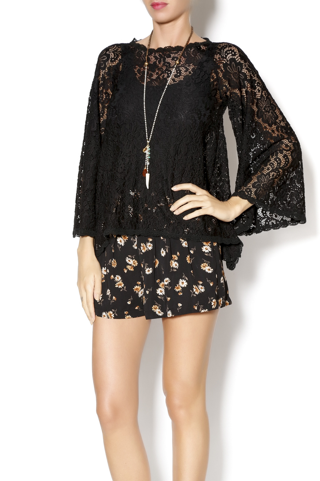 Gina Louise Lace Bell Sleeve Top - Main Image