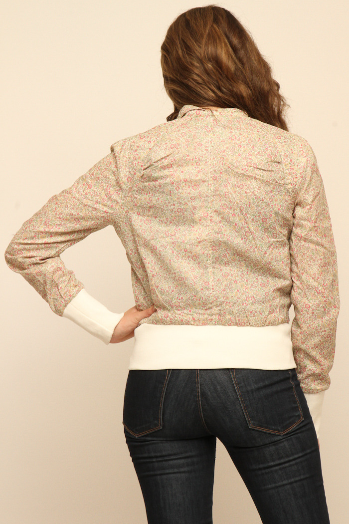 Members Only Floral Cotton Classic Bomber - Back Cropped Image