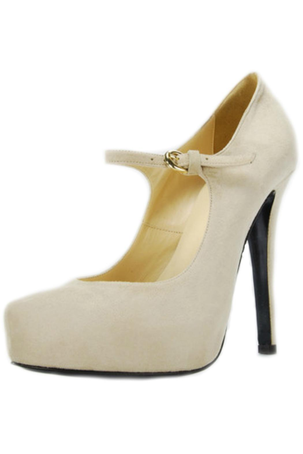 Gianna Meliani Nude Suede Pump - Front Cropped Image