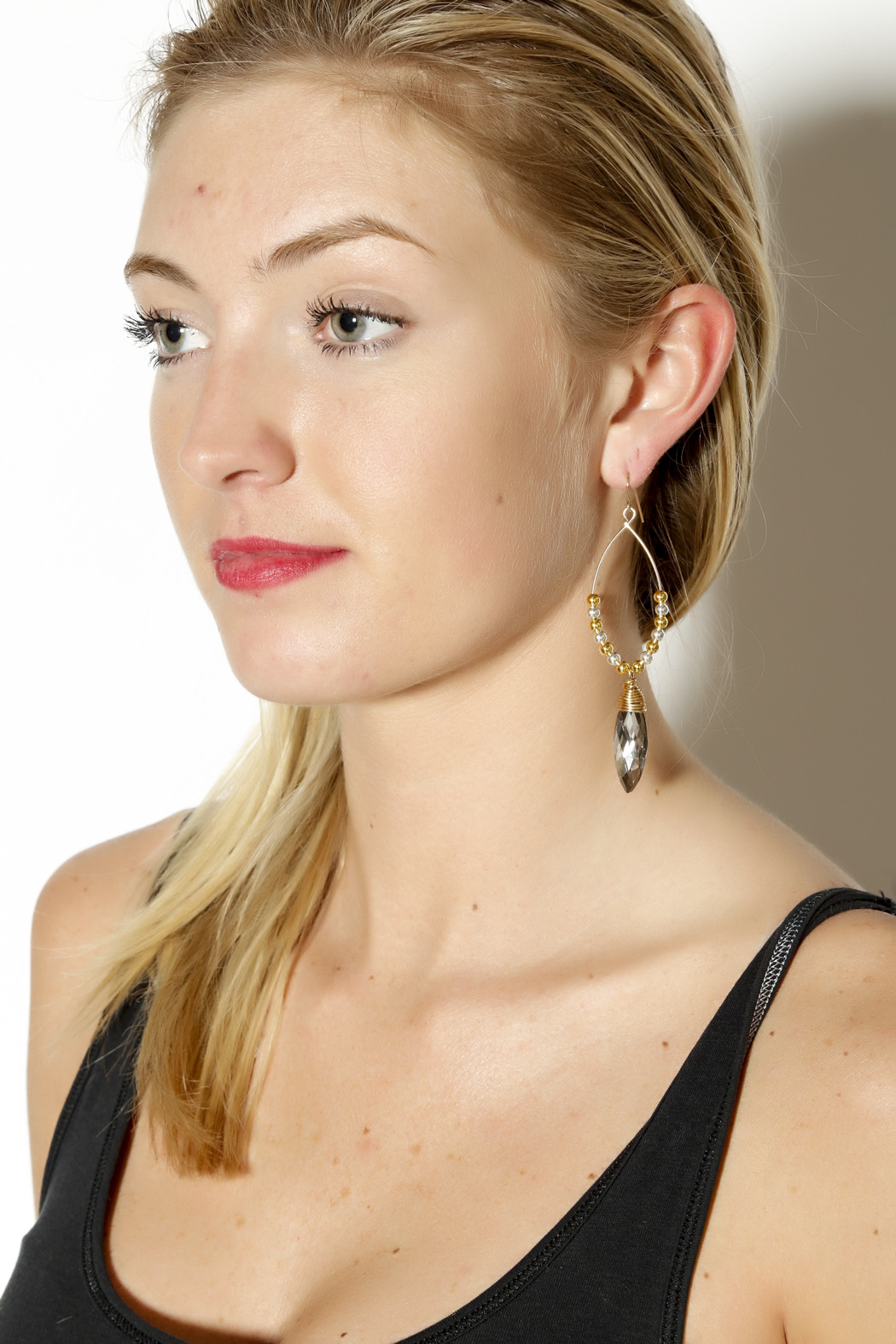 Zia 2 Tone Vintage Glass Earrings - Back Cropped Image