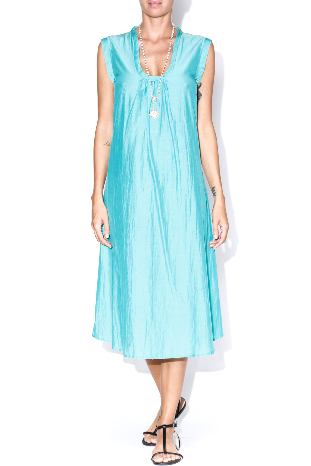 matta Turquoise Puja Dress - Front Cropped Image