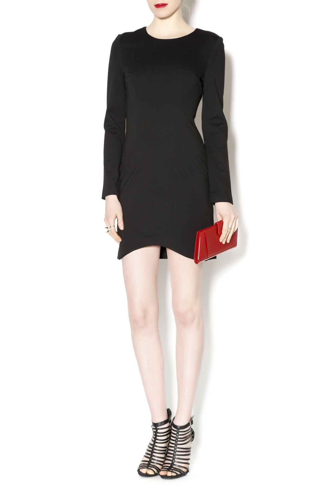 Black Label Black Scoop Hem Dress - Front Full Image