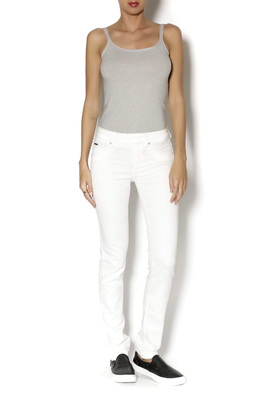 Beija Flor White  Denim - Front Full Image