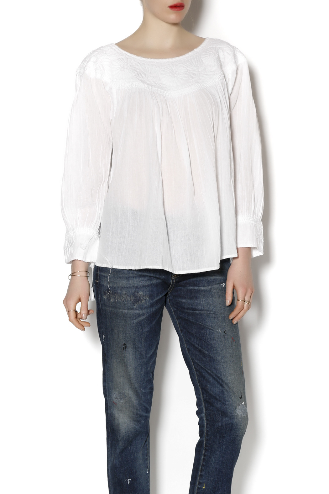 Nativa Gauzy Embroidered Blouse - Front Cropped Image