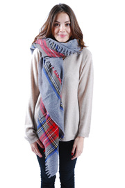 Plaid Wool Scarf - Front cropped