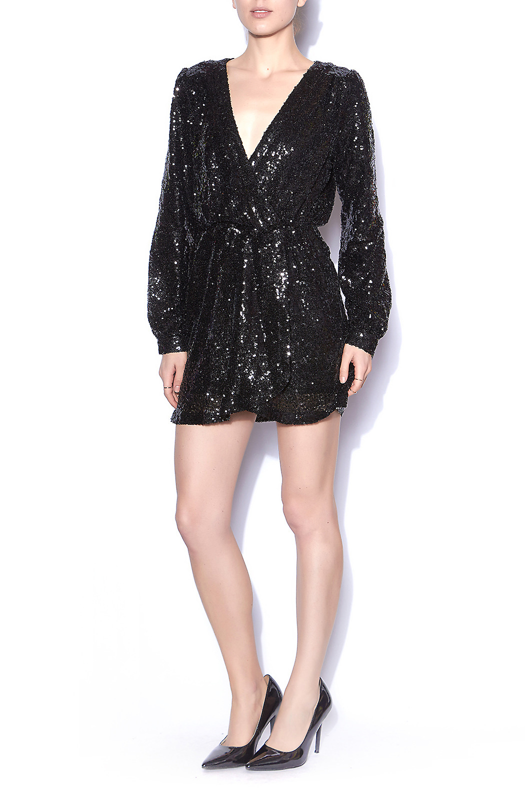 9d2e0641c37f Honey Punch Black Sequin Wrap Dress from Mississippi by LipChic ...