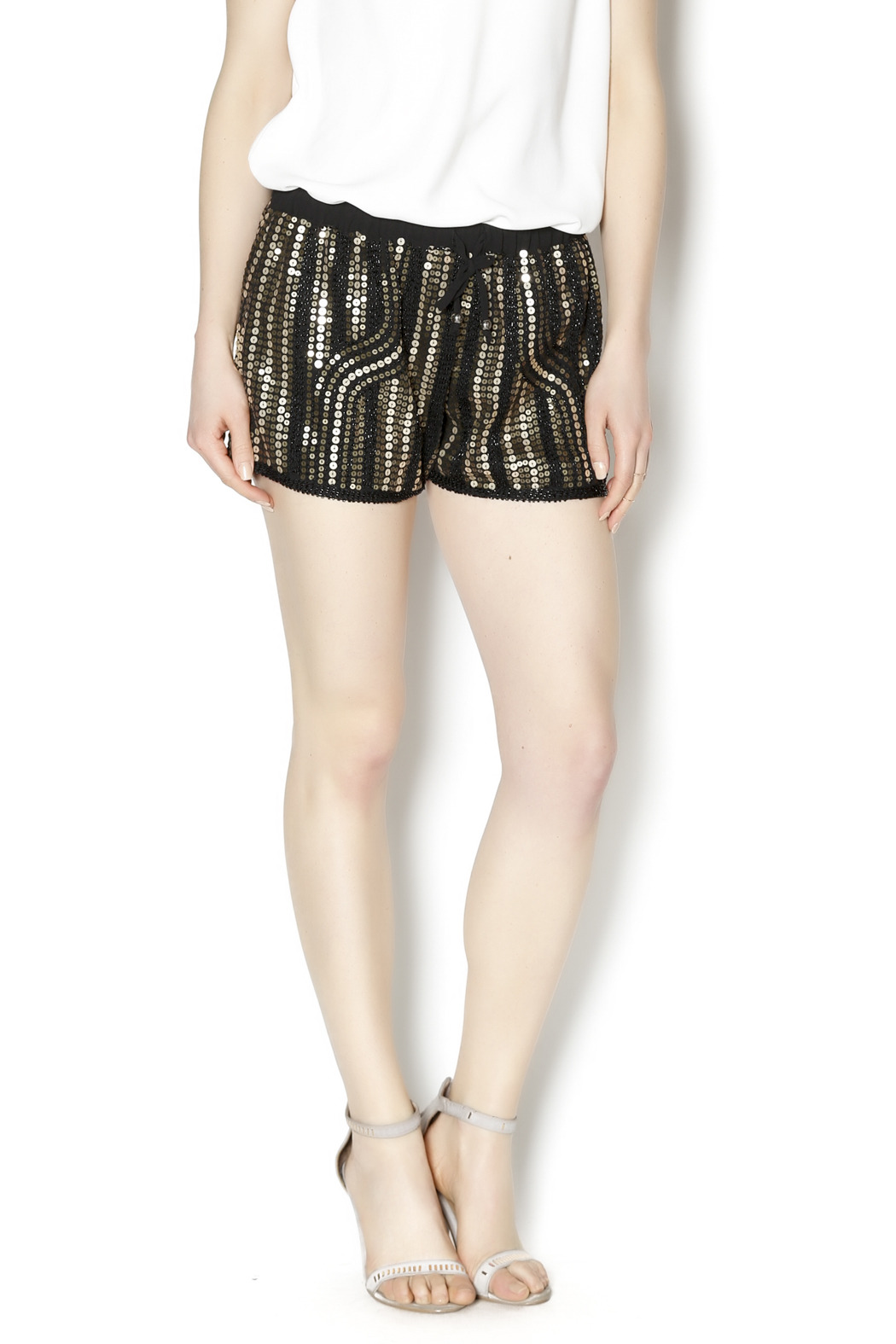 Wish Collection Sequin Track Shorts - Front Cropped Image