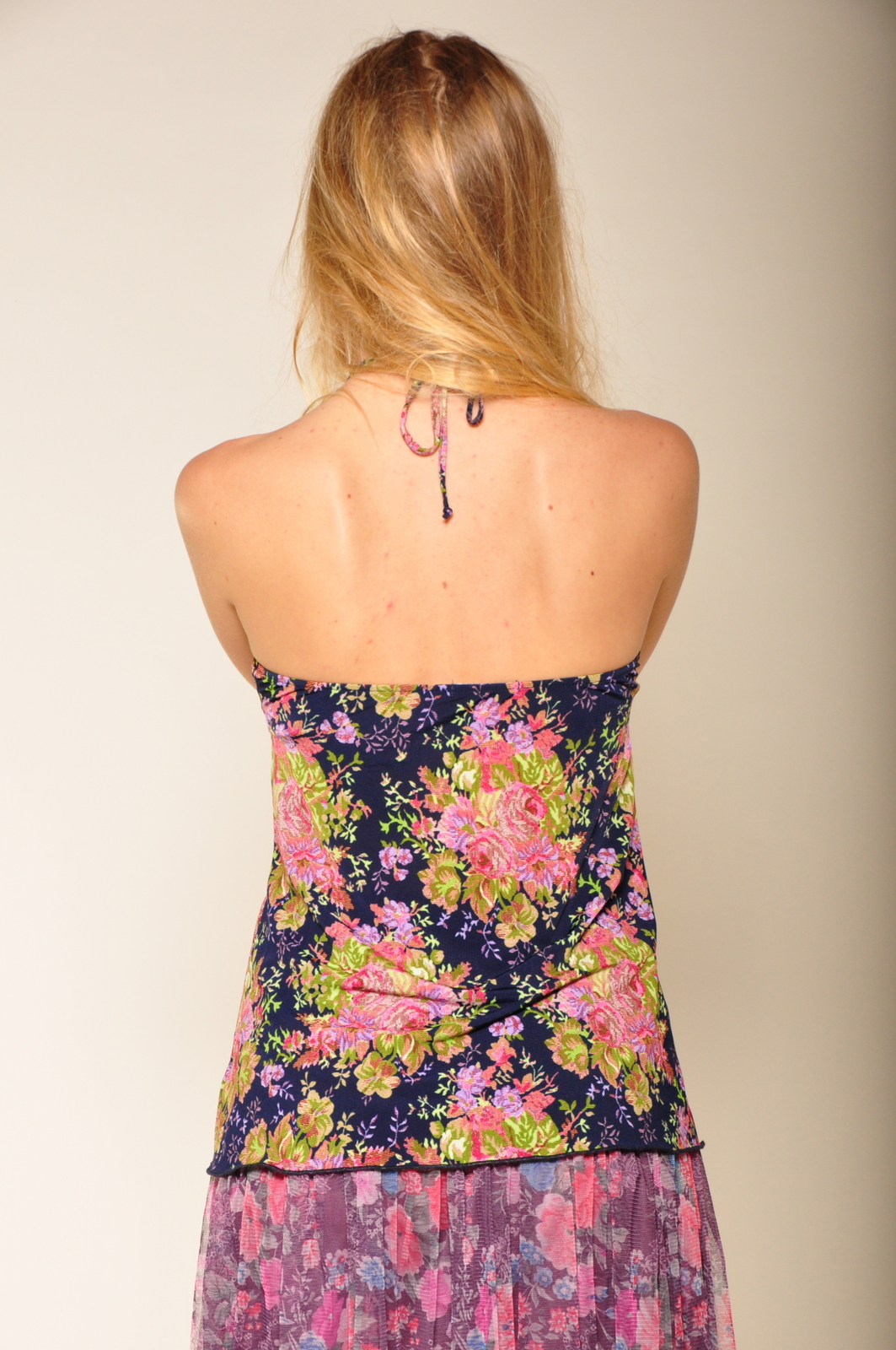 By Closet Floral Halter Top - Back Cropped Image
