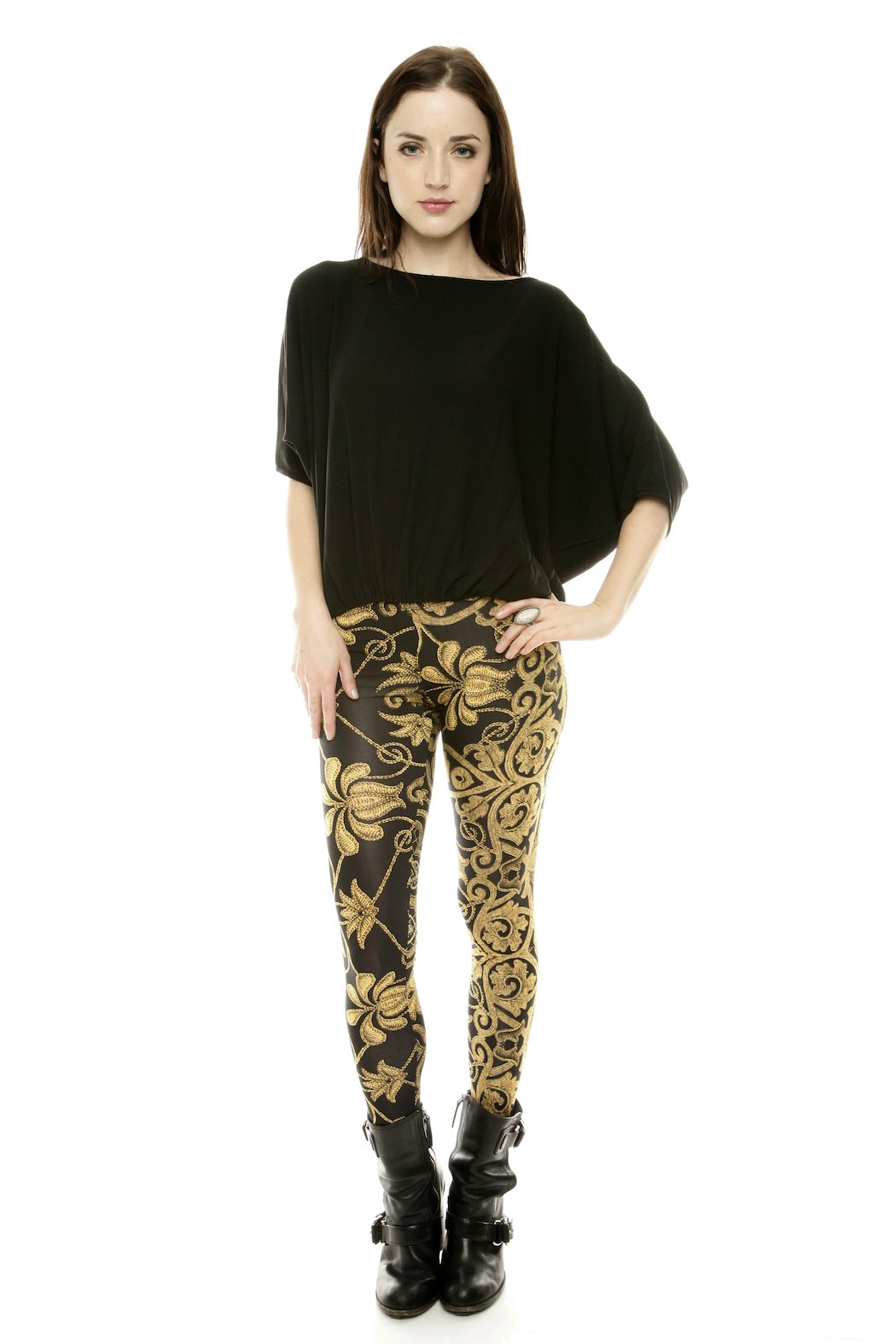 See You Monday Gold Cord Leggings - Front Full Image