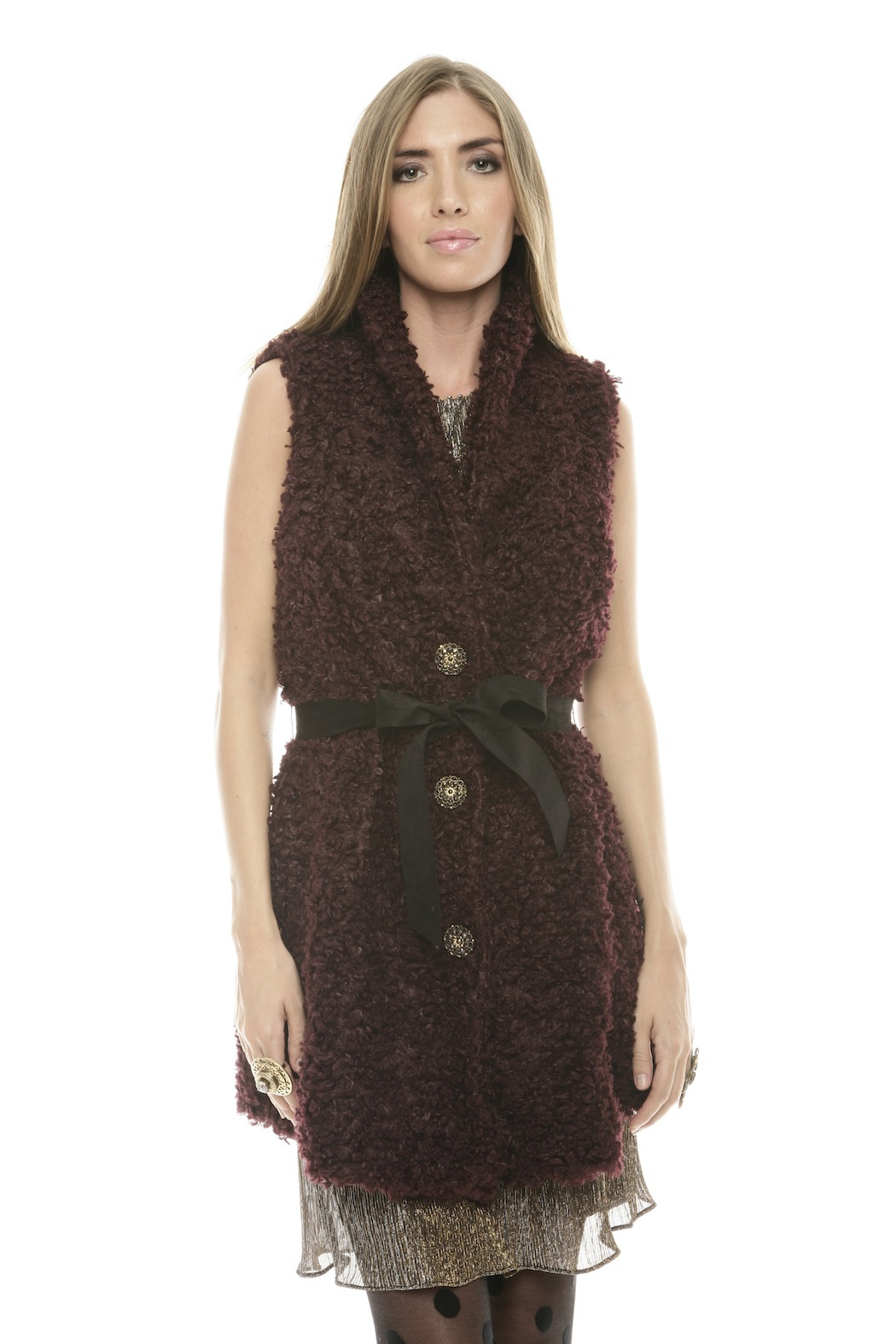 Baci Belted Curly Vest - Front Cropped Image