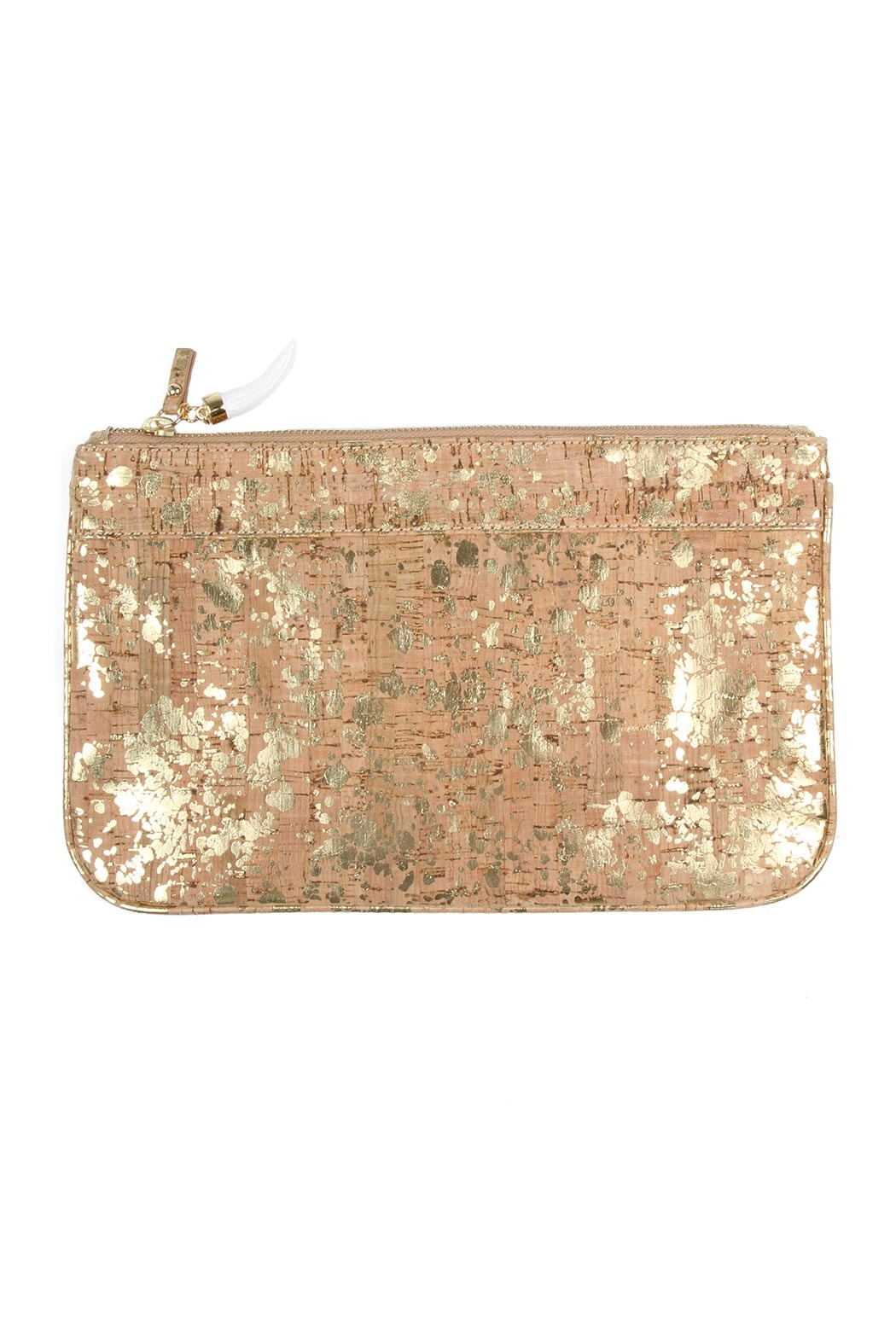 Persifor Gold Splattered Cork Clutch - Front Cropped Image