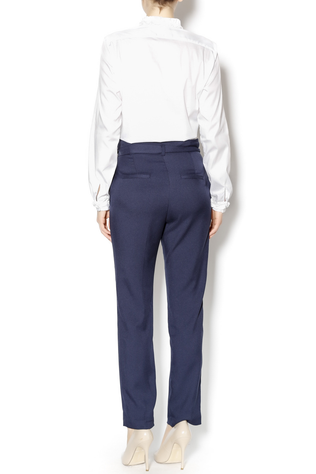 Pinkyotto Navy High Waisted Tie Pants - Side Cropped Image