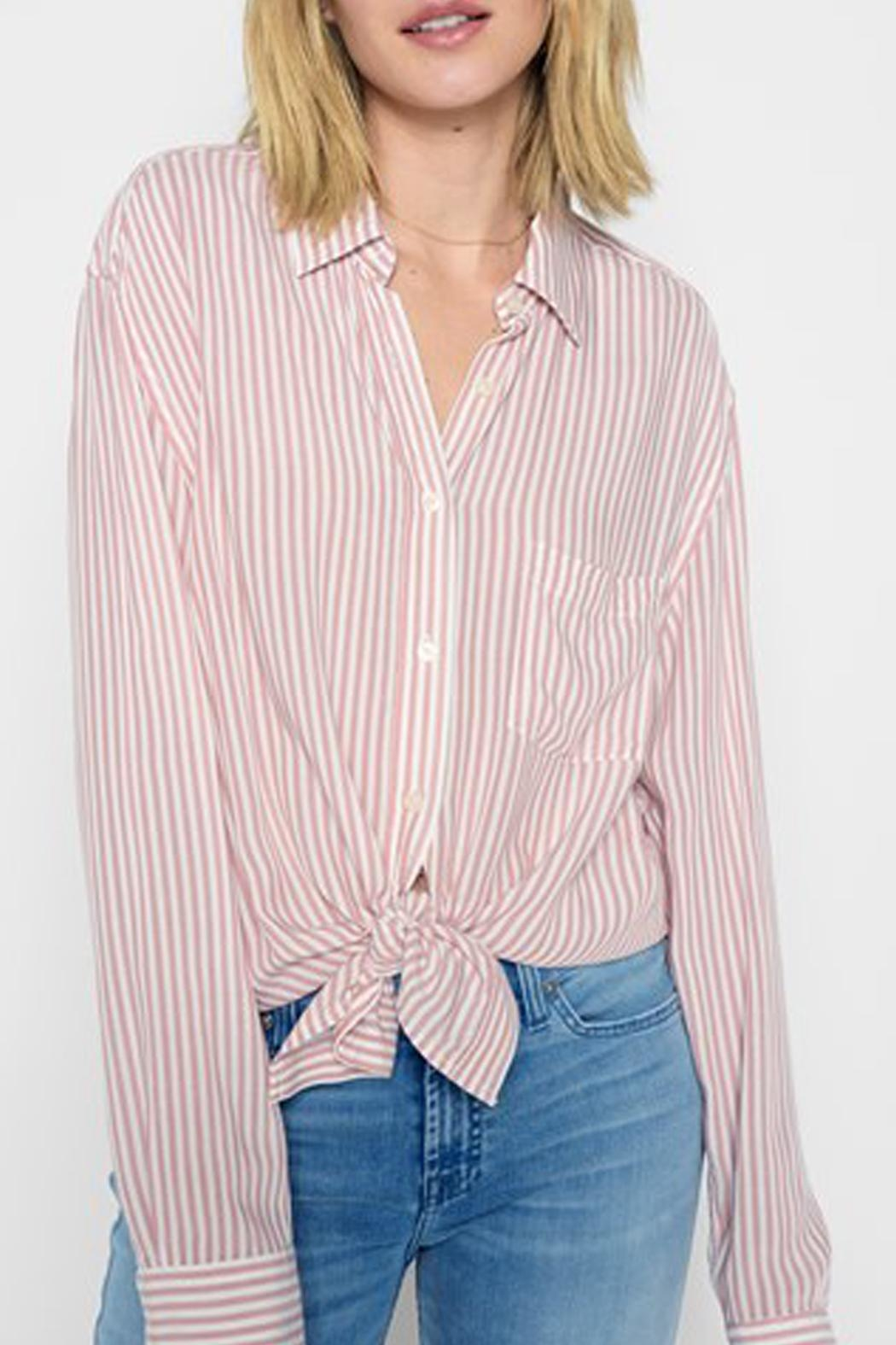 7 For all Mankind Hi-Lo Tie Shirt - Main Image