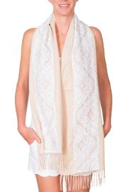 CLAIRE FLORENCE White Lace Travel Scarf - Front cropped