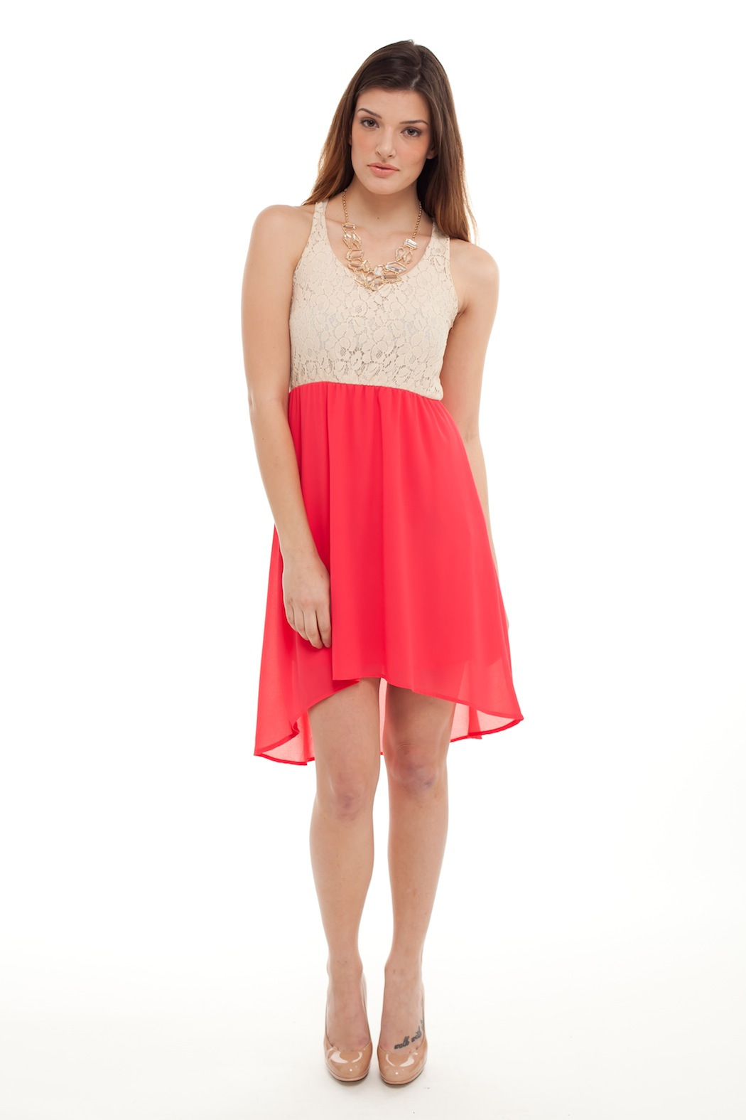 Cantata Lined Lace Dress - Front Full Image