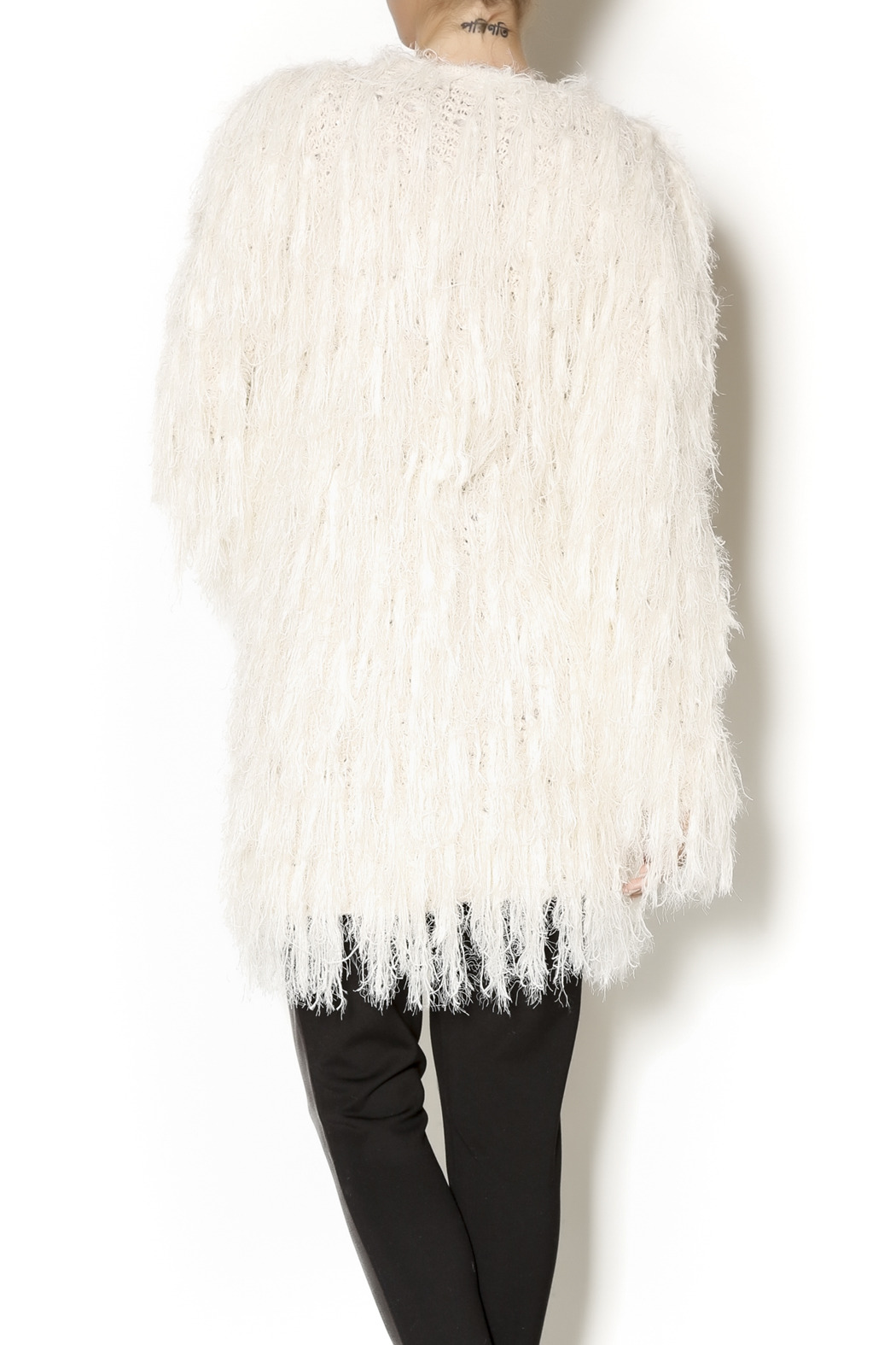 Selfie Couture Sweater Fringe Cardigan - Back Cropped Image