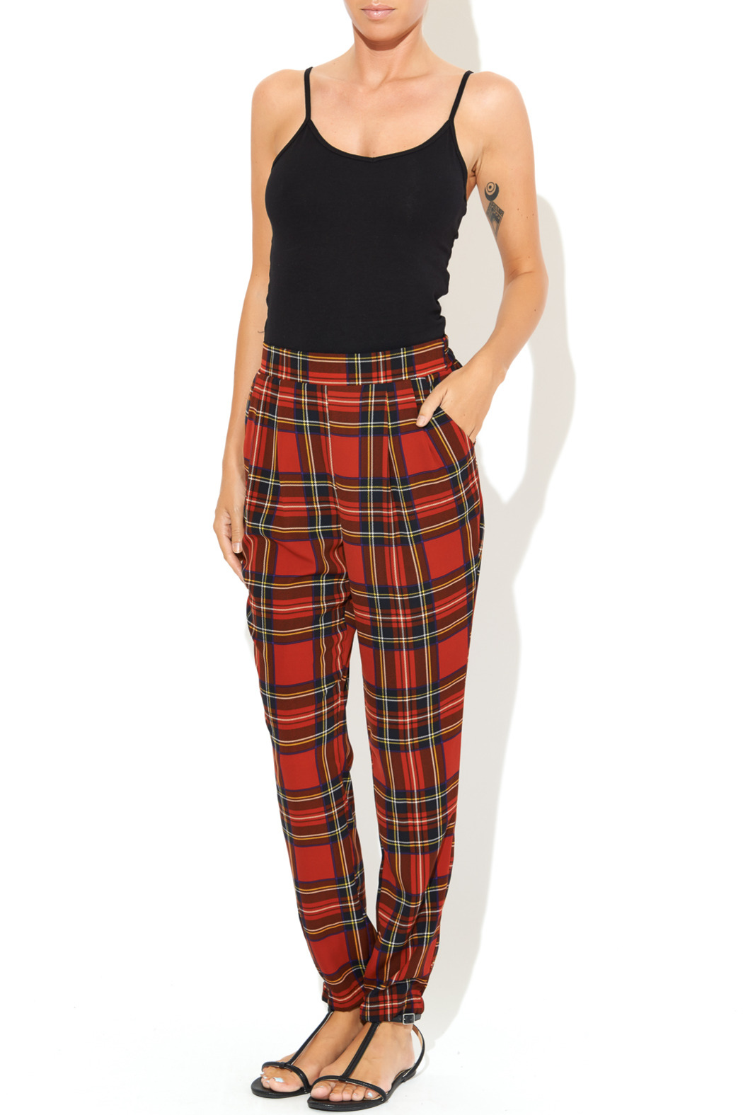 See You Monday Red Tartan Print Pants - Front Full Image