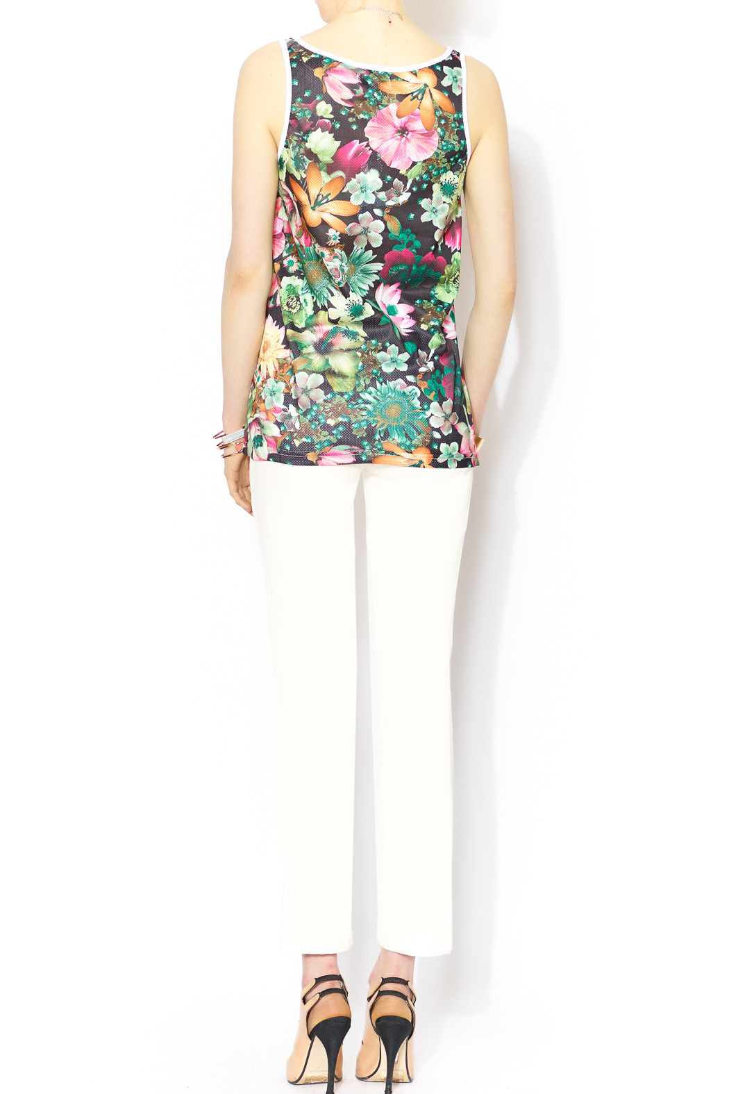 Glamorous Floral Mesh Jersey - Side Cropped Image