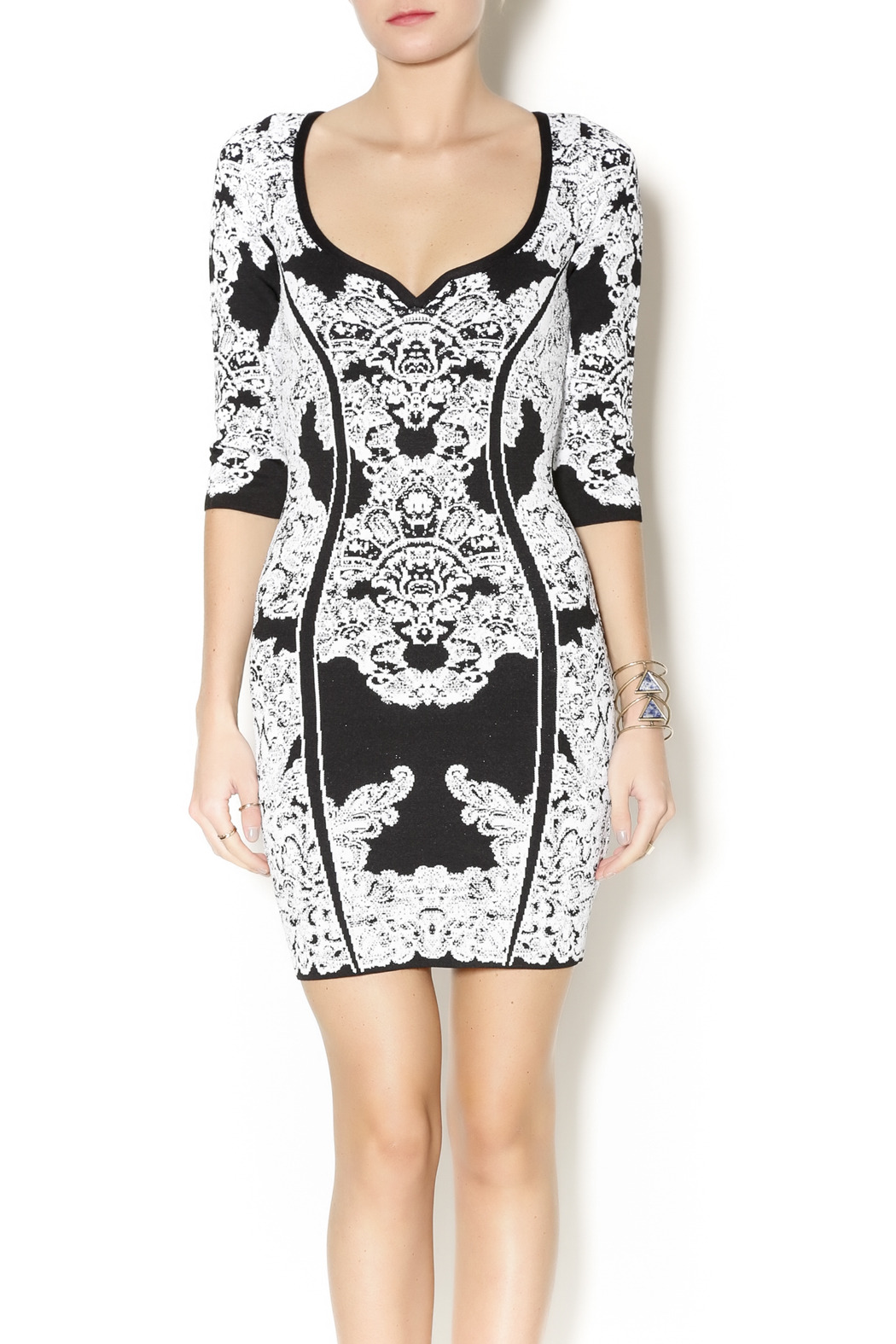 Wow Couture Damask Body Con Dress - Front Cropped Image