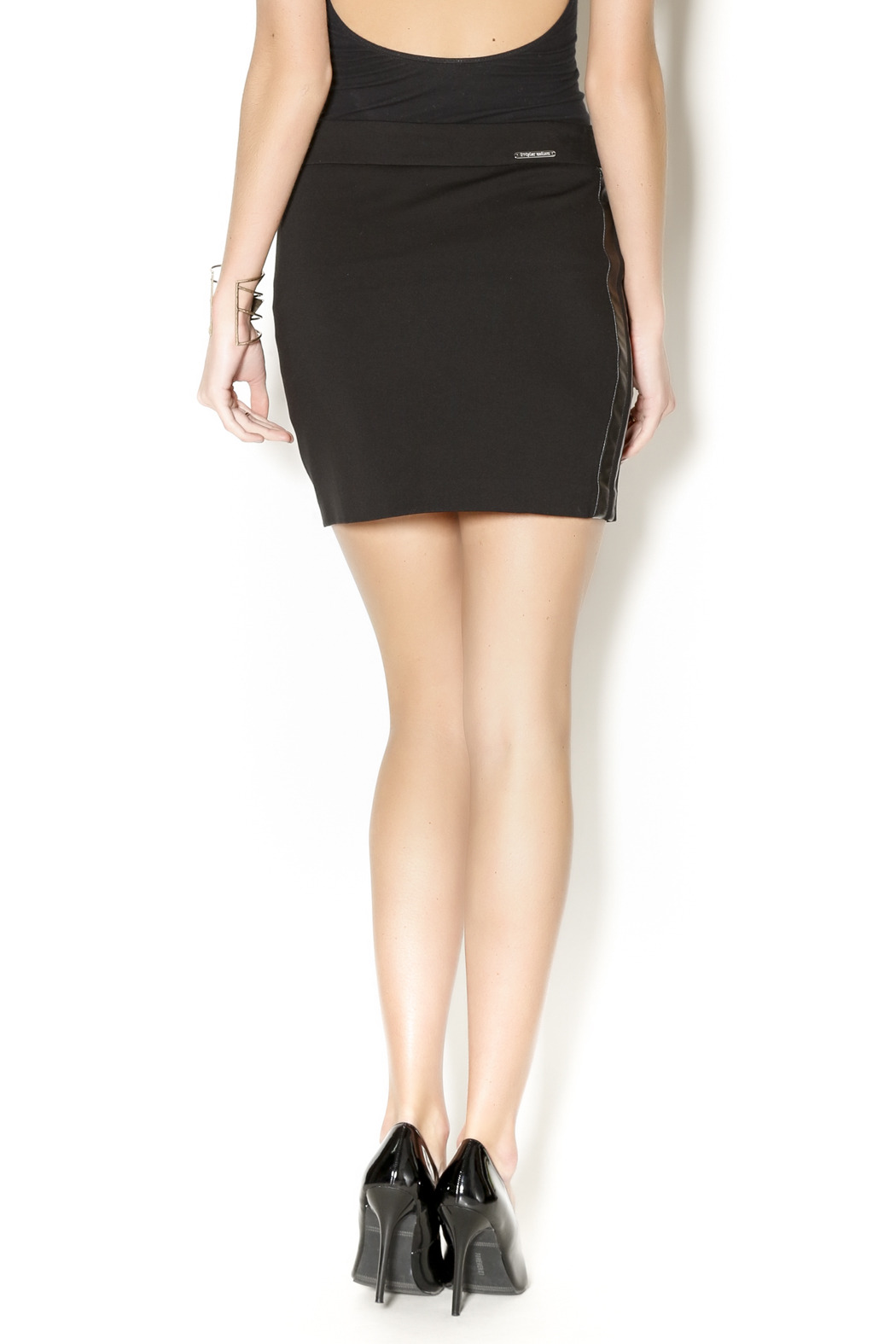 i leather trim skirt from new york by