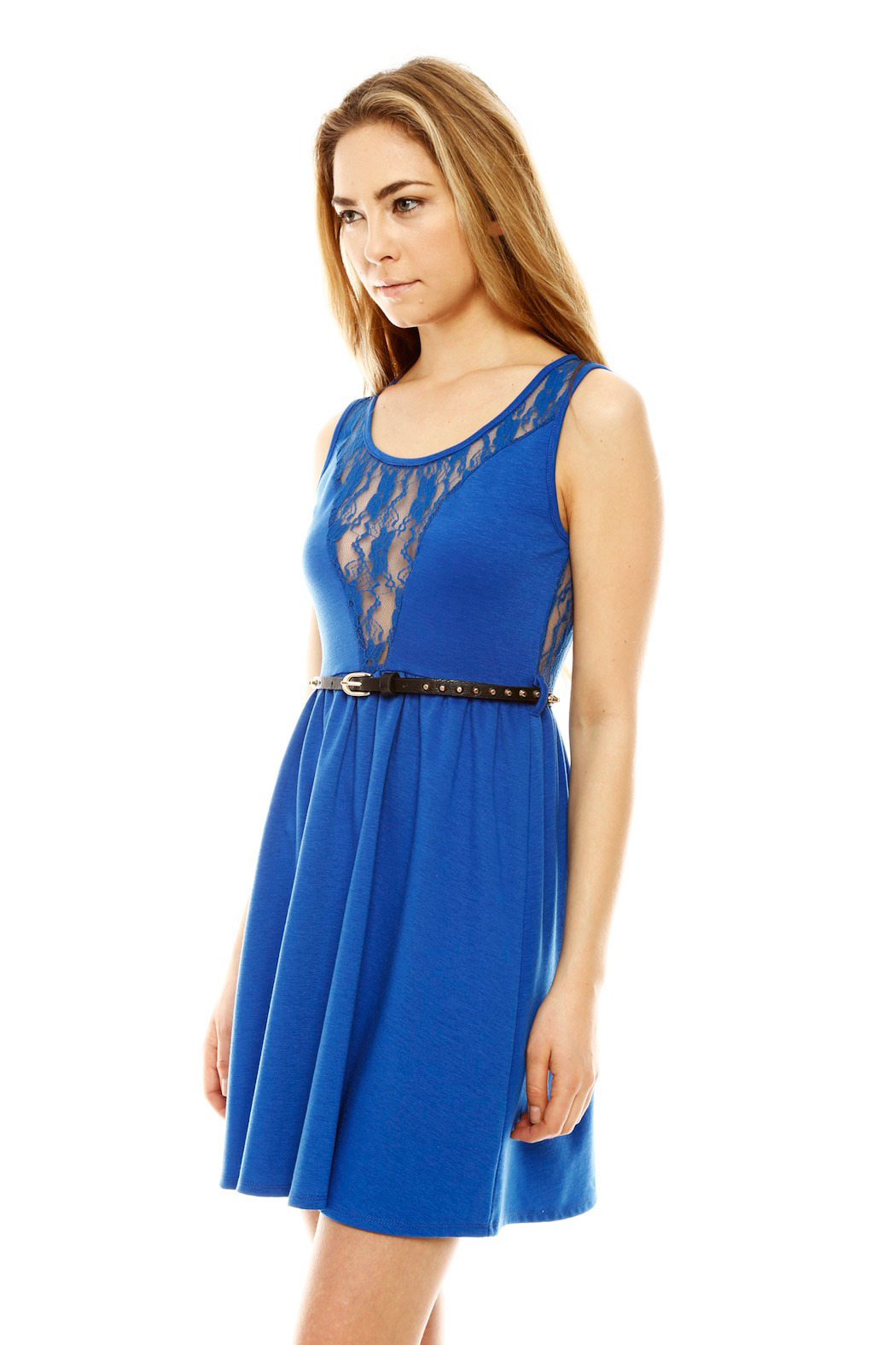 Ya Los Angeles Lacy Skater Dress - Side Cropped Image