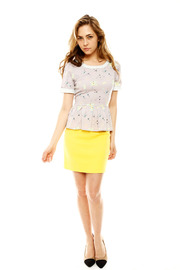 Yumi Atomic Peplum Blouse - Front full body