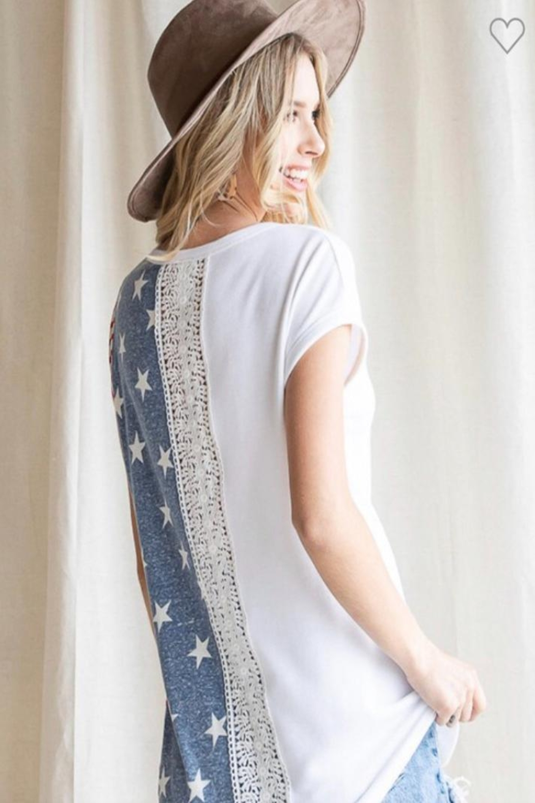 7th Ray Americana Lace Top - Front Full Image