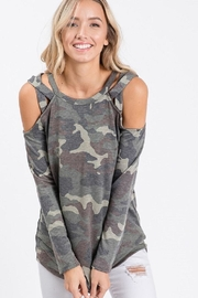 7th Ray Camo Cold Shoulder Top - Product Mini Image