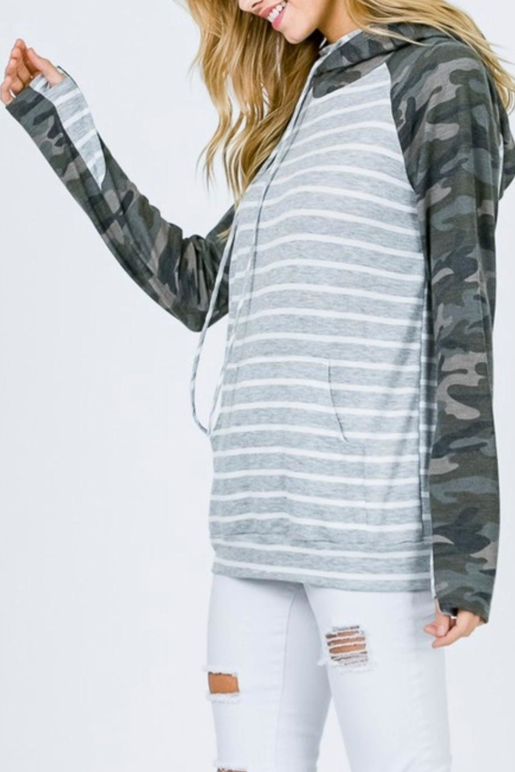 7th Ray Camo Raglan-Sleeve Hoodie - Side Cropped Image