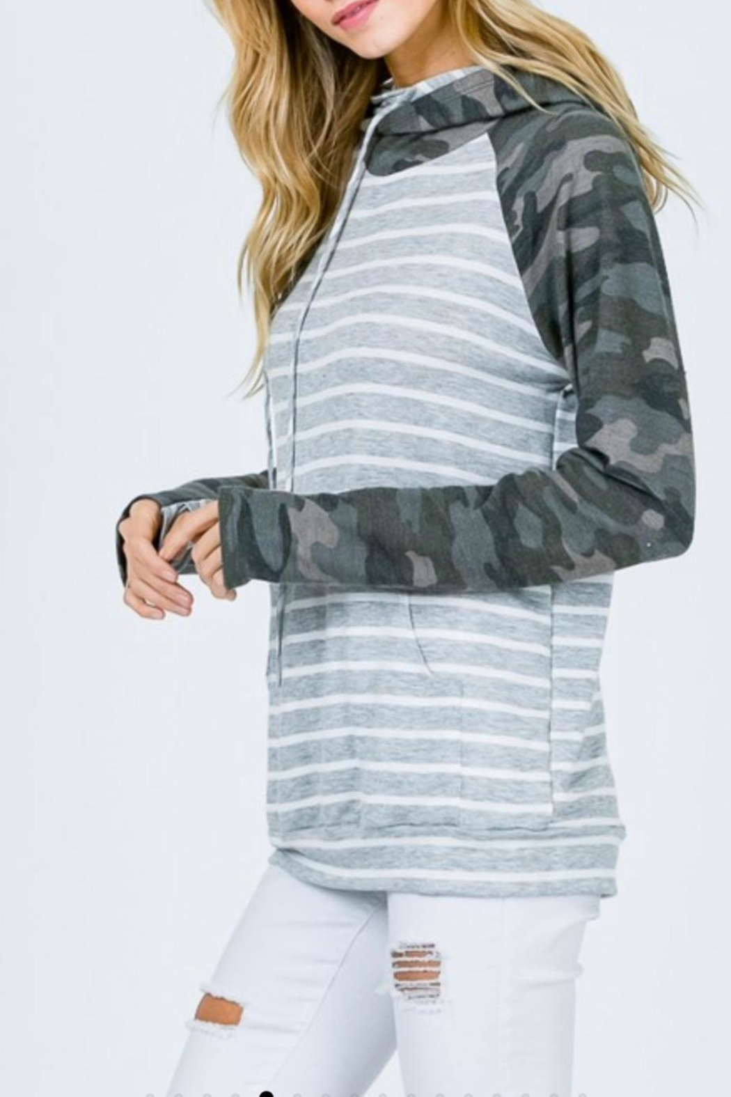 7th Ray Camo Raglan-Sleeve Hoodie - Back Cropped Image