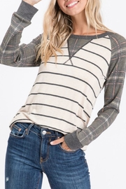 7th Ray Plaid Raglan-Sleeve Top - Front full body
